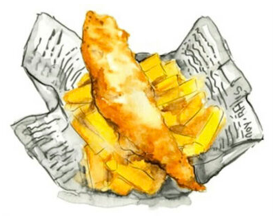 illustration-of-fish-and-chips-in-newspaper